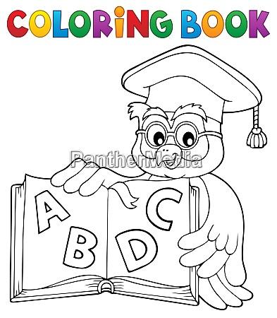 coloring book owl teacher theme 4