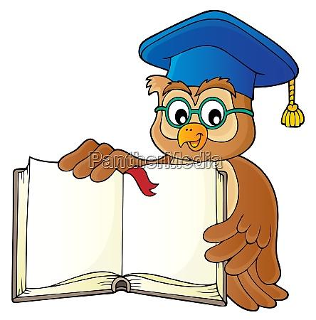 owl teacher with open book theme