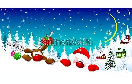 weihnachtsmann und hirsche in der weihnachtsnacht