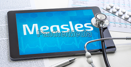 the word measles on the display