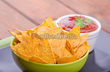 tortilla chips with spicy tomato salsa