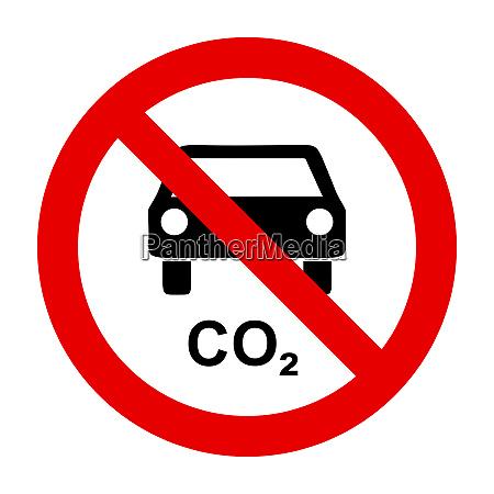 co2 auto und verbotsschild
