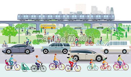 stadtbild mit radfahrern und strassenverkehr
