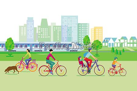 stadtsilhouette mit radfahrern