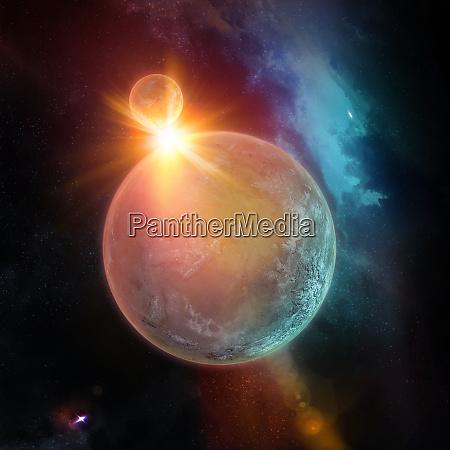planeten mit sonne hinten sterne und