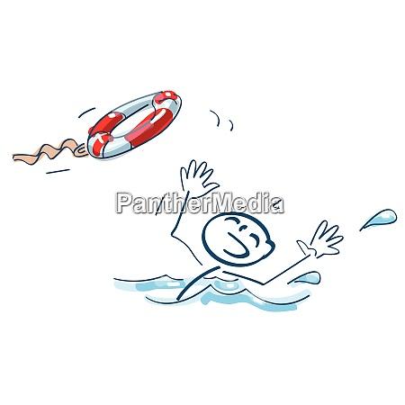 stickfigur wird ein schwimmreifen geworfen