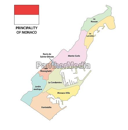 fuerstentum monaco administrative und politische landkarte