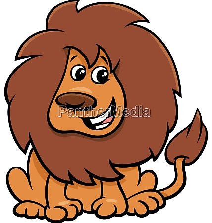 cute lion animal character cartoon illustration