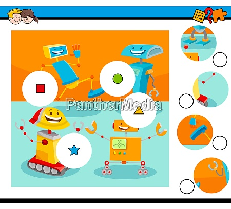 match pieces puzzle with robot characters