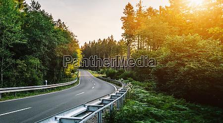 lange kurvige waldstrasse in den alpen