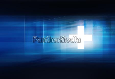 weisses plus symbol vor blauem hintergrund