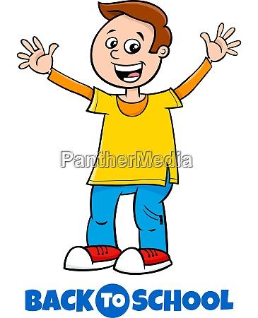 happy boy back to school cartoon