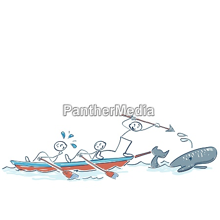 stick figures in a boat at