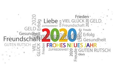wortwolke mit neujahrsgruessen 2020