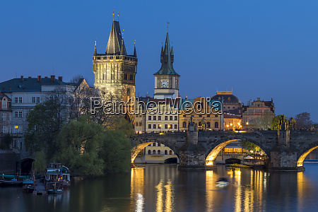 view over charles bridge old town