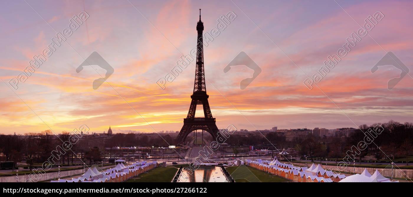 eiffelturm, bei, sonnenaufgang, paris, ile, de, france, frankreich, europa - 27266122