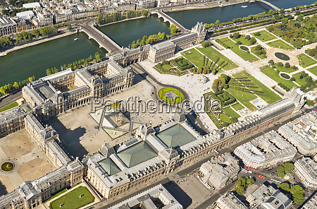 aerial view of the louvre paris