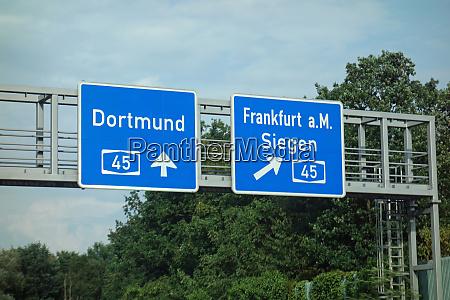 highway sign dortmund frankfurt am siegen