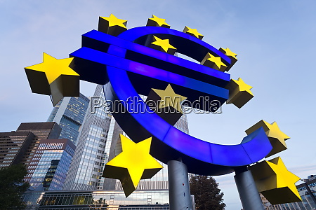 european central bank and euro symbol