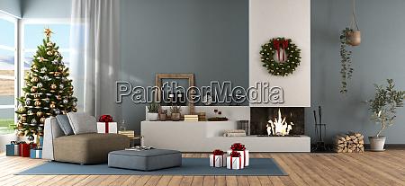 modernes wohnzimmer mit weihnachtsschmuck