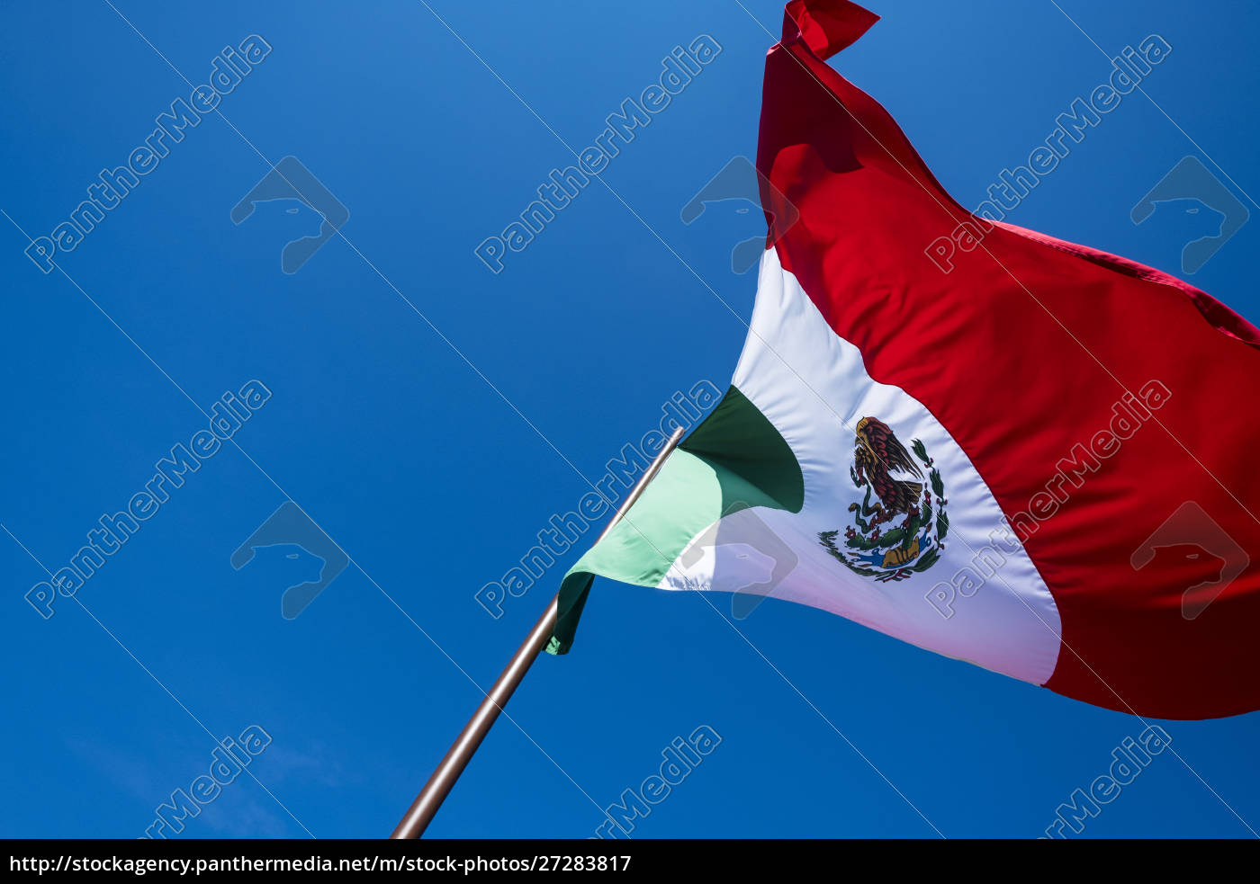 mexican, flag, waving, in, a, blue - 27283817