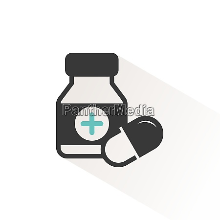 capsules bottle medicines color icon with