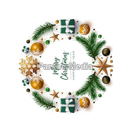 weihnachtskranz design mit festlichen weihnachtsdekoration ornamente