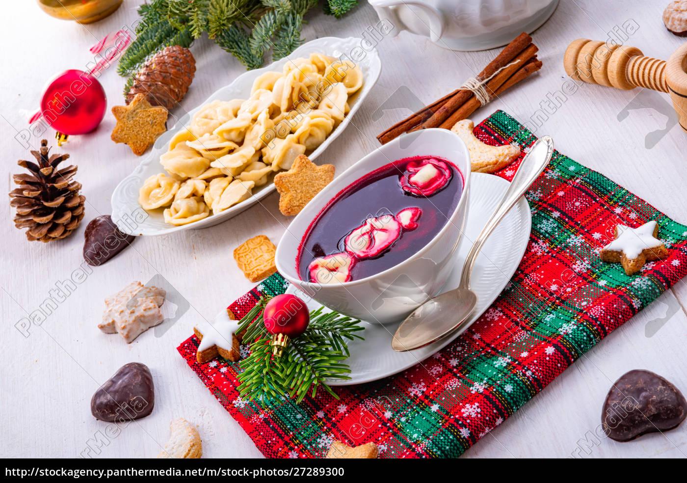 barszcz, (rote-bete-suppe), mit, kleinen, pierogi - 27289300