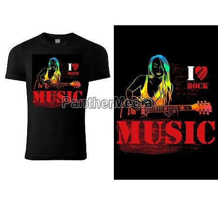 t shirt design with guitarist girl