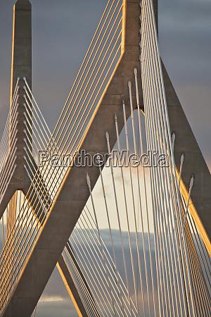 suspension bridge at dusk leonard p