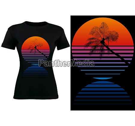 black t shirt design with tropical