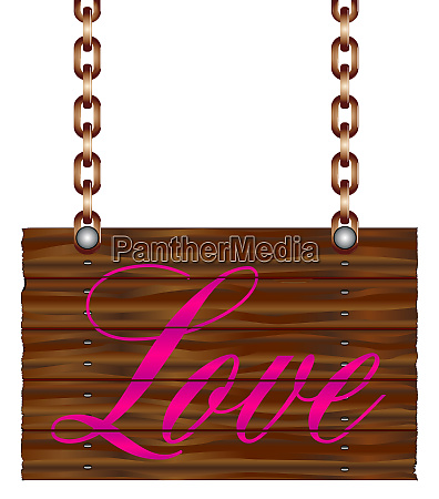 hanging wooden love sign