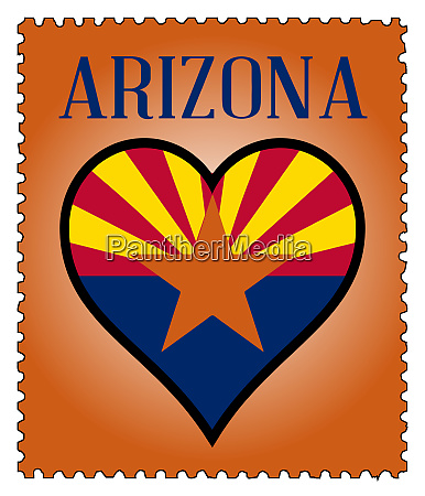 love arizona flag postage stamp