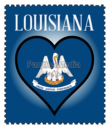 love louisiana flag postage stamp
