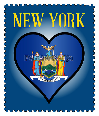 love new york flag postage stamp