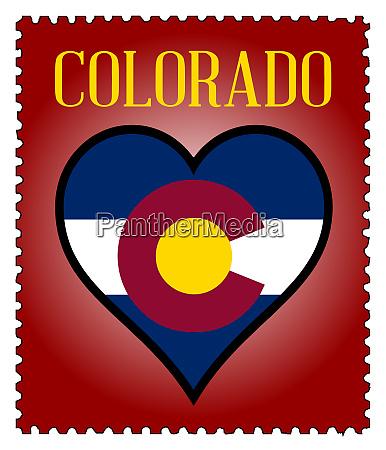 liebe colorado flagge briefmarke