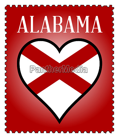 love alabama flag postage stamp