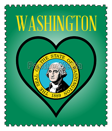 love washington flag postage stamp