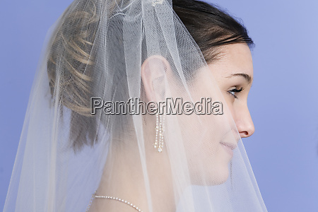 side view of a young bride