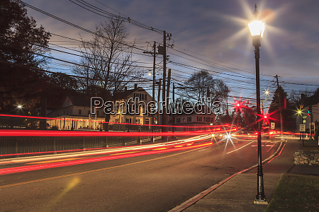 light trails on intersection of pleasant