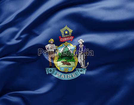 schwenken der staatsflagge von maine