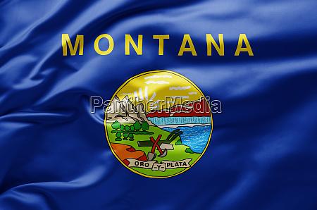 schwenkende staatsflagge von montana vereinigte