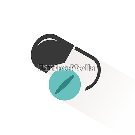 pills flat icon with beige shade