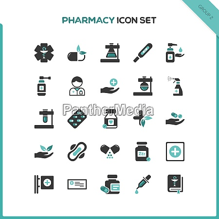flat pharmacy and healthcare icon set
