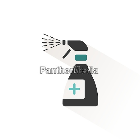sanitizer spray flat icon with beige