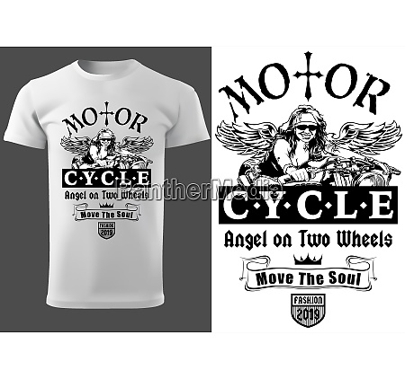 t shirt design with motorcyclist woman