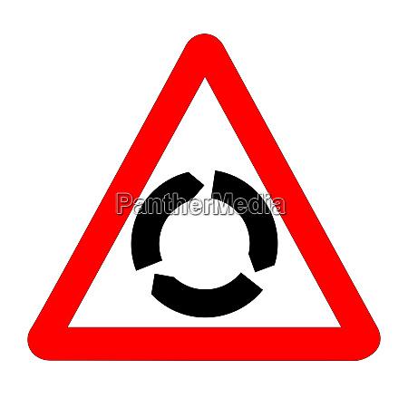 das traditionelle roundabout dreieck verkehrszeichen isoliert