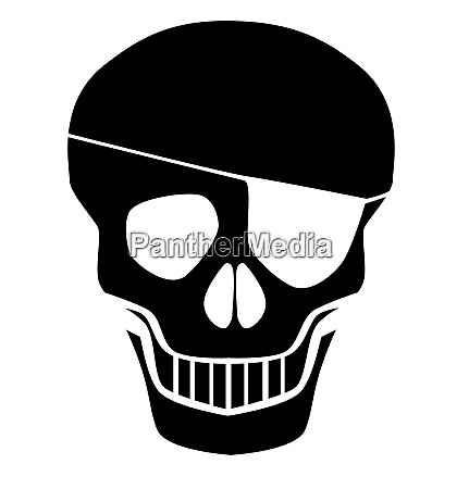 black skull silhouette with eye patch
