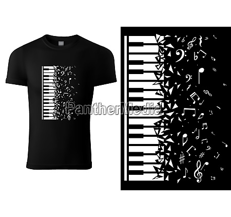 black t shirt design with piano