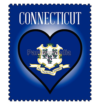 love connecticut flag postage stamp